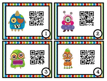 QR Code Fun: Monsters 2nd Grade Common Core Task Cards - 2.NBT.6 and 2.NBT.7
