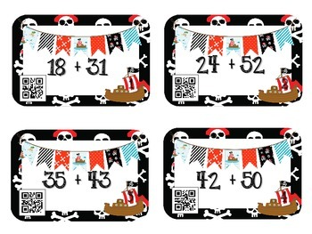 QR Code Fun: Pirates Two-Digit Addition & Subtraction Task Cards 2.NBT.5