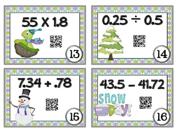 QR Code Fun: Snow Day Decimals Task Cards with Scoot! Game
