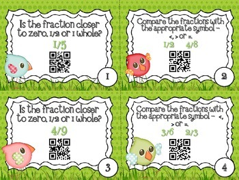 QR Code Fun: Spring Comparing Fraction Task Card Set - Benchmark Numbers