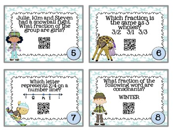 QR Code Fun: Winter Fraction Task Cards - Week Before Christmas Activity