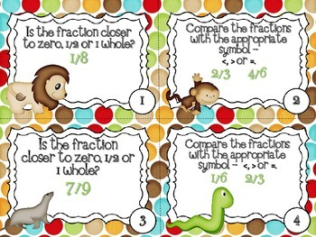 QR Code Fun: Zoo Comparing Fractions Task Cards Set - Benchmark Numbers