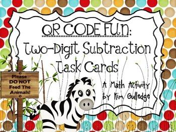 QR Code Fun: Zoo Two-Digit Subtraction Task Cards - 3.NBT.2 & 2.NBT.7