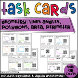 Geometry Task Cards with QR Codes: Lines, Angles, Polygons, Area, Perimeter