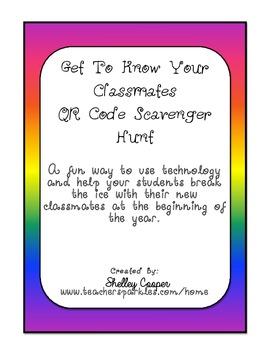 QR Code Get To Know You Classmates Scavenger Hunt