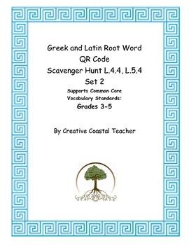 QR Code Greek and Latin Root Word Vocabulary Scavenger Hunt L.4.4, L.5.4