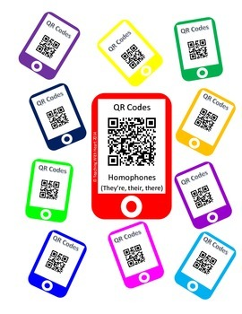QR Code Homophones Task Cards (They're, their, there)