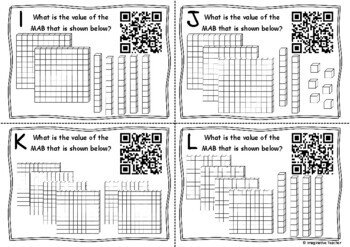 QR Code Hunt Place Value MAB blocks - Hundreds Tens and Ones