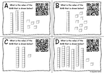 QR Code Hunt Place Value MAB blocks - Tens and Ones