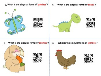 QR Code Hunt for Singular/Plural Nouns-Regular and Irregular Plurals