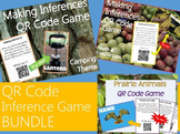 Inference Task Cards with QR Codes Bundle {Camping, Prairie Animals, Health}