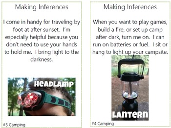 Making Inferences Task Cards with QR Codes {Camping Theme}