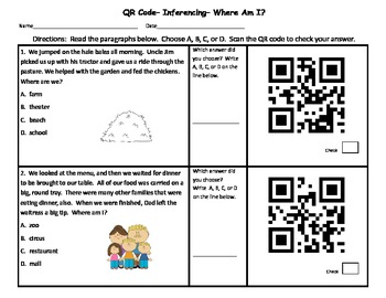 QR Code Inferencing Activity
