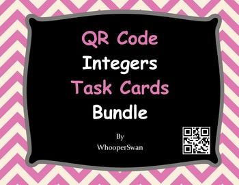 QR Code Integers Task Cards Bundle