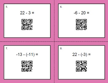 QR Code Integers Task Cards Bundle