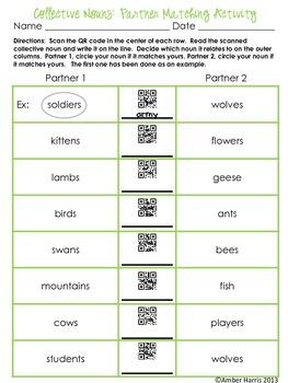 QR Code Language Arts:  Collective Nouns