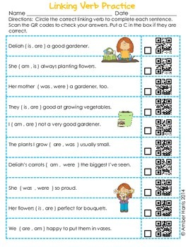 QR Code Language Arts:  Linking Verbs and Helping Verbs