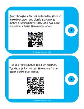 QR Code Length Conversion Word Problem Task Cards