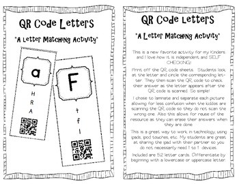 QR Code Letters {A letter Matching Activity}