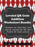 QR Code Leveled Addition Worksheet Bundle- 20 worksheets w