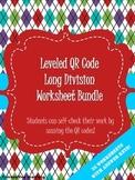 QR Code Leveled Long Division Worksheet Bundle- 35 workshe