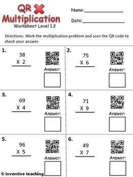QR Code Leveled Multiplication Worksheet Bundle- 20 worksheets with answer keys!