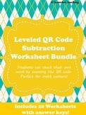 QR Code Leveled Subtraction Worksheet Bundle- 20 worksheet