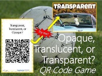 QR Code Light Game {Transparent, Translucent, & Opaque Vocabulary Practice}