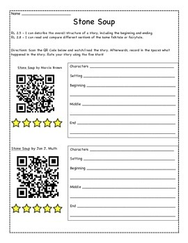 QR Code Listening Centers Stone Soup, 11 books and videos