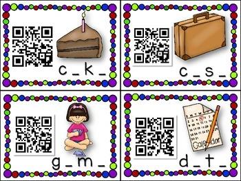 QR Code Literacy Center & Write the Room Activity: Magic e Words