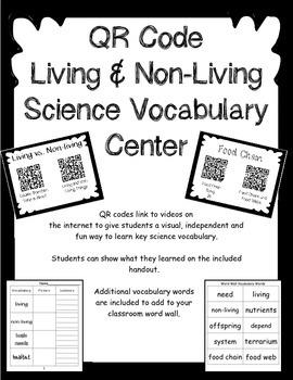 QR Code Living and Non-Living Vocabulary Center