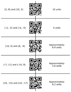 QR Code Match - The Distance Between Two Points on a Coordinate Grid