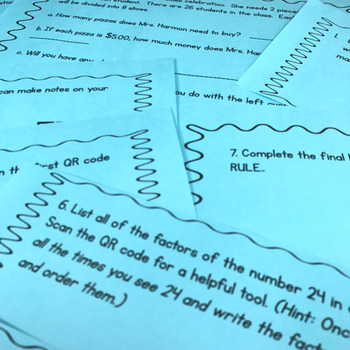 QR Code Math Center - 4th Grade Operations and Algebra