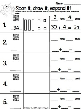 QR Code Expanded Form with Base 10 Blocks