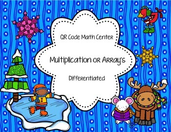 QR Code Math Center Winter Multiplication
