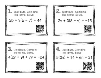 QR Code Math Practice [Algebra - Combine Like Terms]