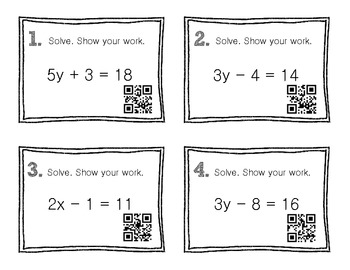 QR Code Math Practice [Algebra - Two Step Equations]