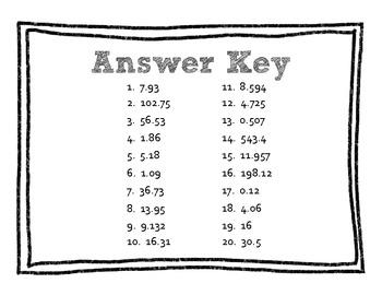 QR Code Math Practice [Decimals - Add & Subtract]