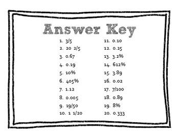 QR Code Math Practice [Fractions Decimals Percents]