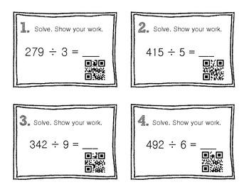 QR Code Math Practice [Long Division 1 Digit With 3 Digit]