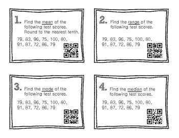 QR Code Math Practice [Measures of Central Tendency]