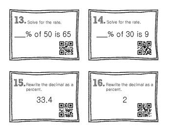 QR Code Math Practice [Percents]