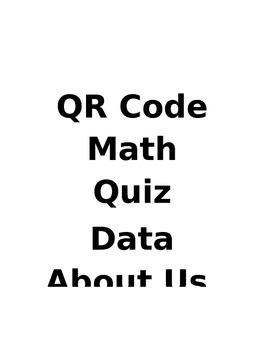 QR Code Math Quiz Data Unit