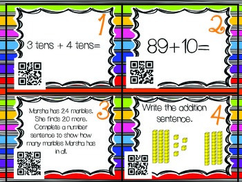 QR Code Math Tasks- Addition with Tens and Ones-1st Grade