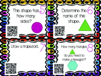 QR Code Math Tasks- Geometry-1st Grade
