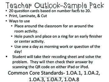 QR Code Math Tasks- Number Facts to 20 1st Grade