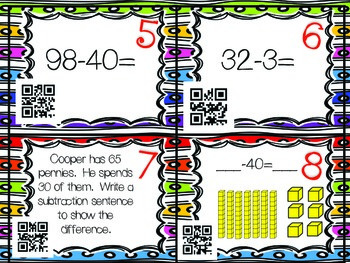 QR Code Math Tasks- Subtraction with Tens and Ones-1st Grade