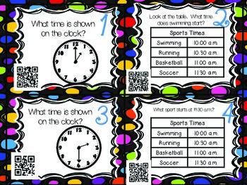 QR Code Math Tasks- Time- 1st Grade