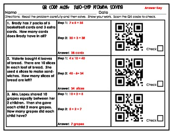 QR Code Math Two-Step Problem Solving