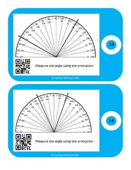 QR Code Measuring Angles Task Cards with Protractors- Not Starting at Zero